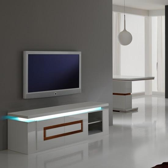 Garde Tv Stand In White Gloss And Walnut With Lights 20793 Throughout Best And Newest Acrylic Tv Stands (View 8 of 20)