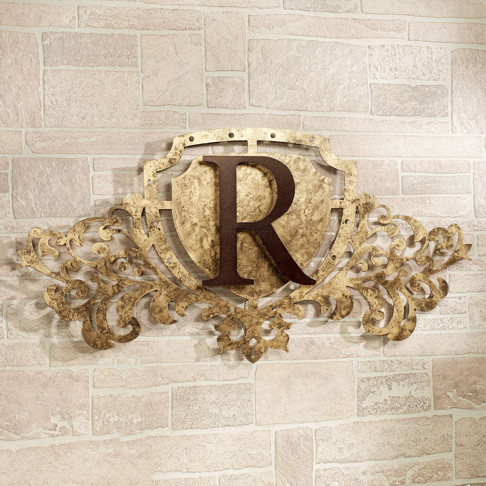 Generations Gold Monogram Crest Metal Wall Art Sign Within Monogram Metal Wall Art (Image 7 of 20)