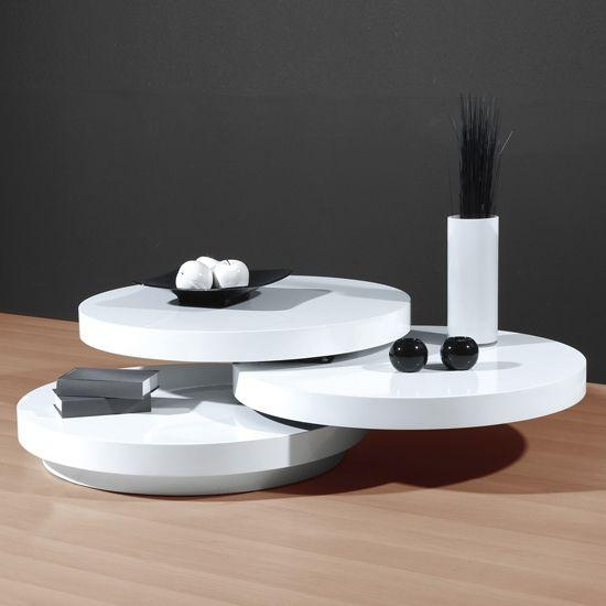 Genesis White High Gloss Round Swiveling Coffee Table | Coffee In Recent White Gloss Oval Tv Stands (Image 6 of 20)