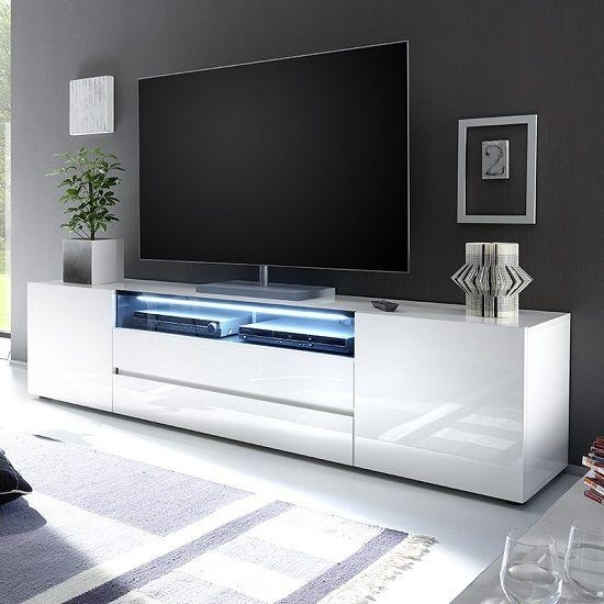 Genie Wide Tv Stand In High Gloss White With Led Lighting | Lcd Tv Throughout Most Recent White Modern Tv Stands (Image 6 of 20)
