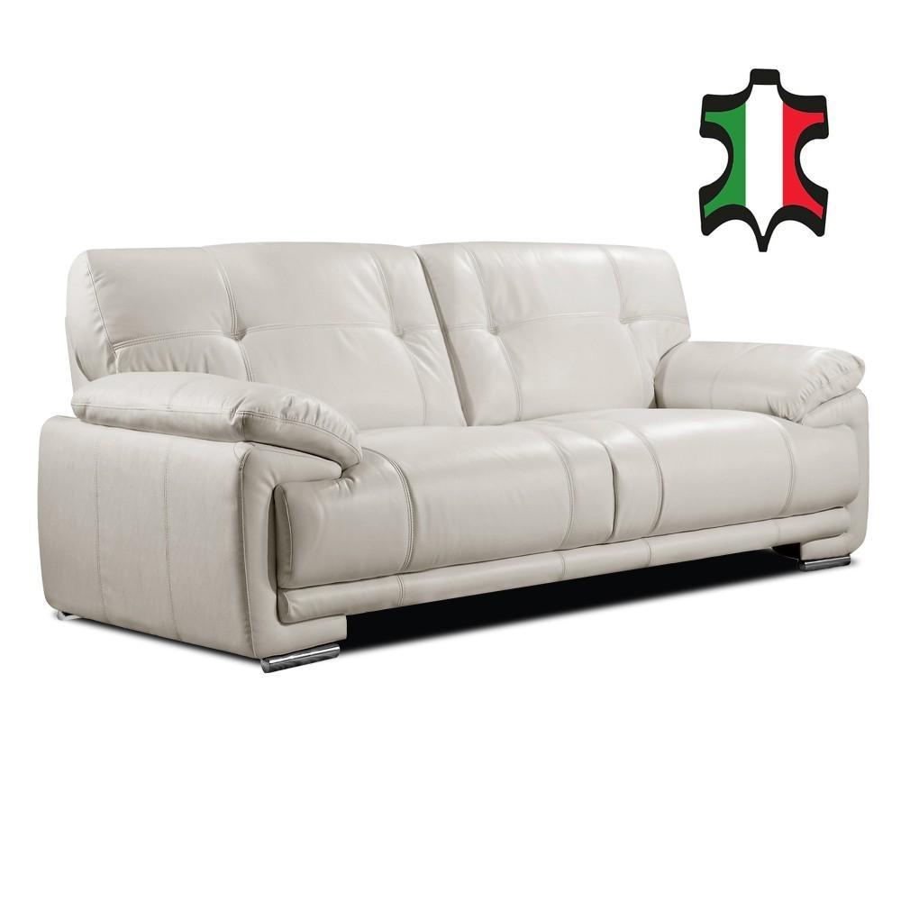 Genuine Italian Leather Sofa Collection In Pale Ivory Intended For Ivory Leather Sofas (Image 6 of 20)