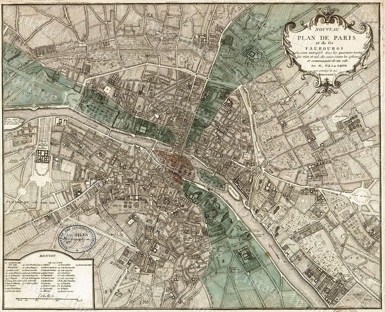 Giant Historic Paris Map, 1740 Old Map Of Paris Antique For Map Of Paris Wall Art (Image 6 of 20)