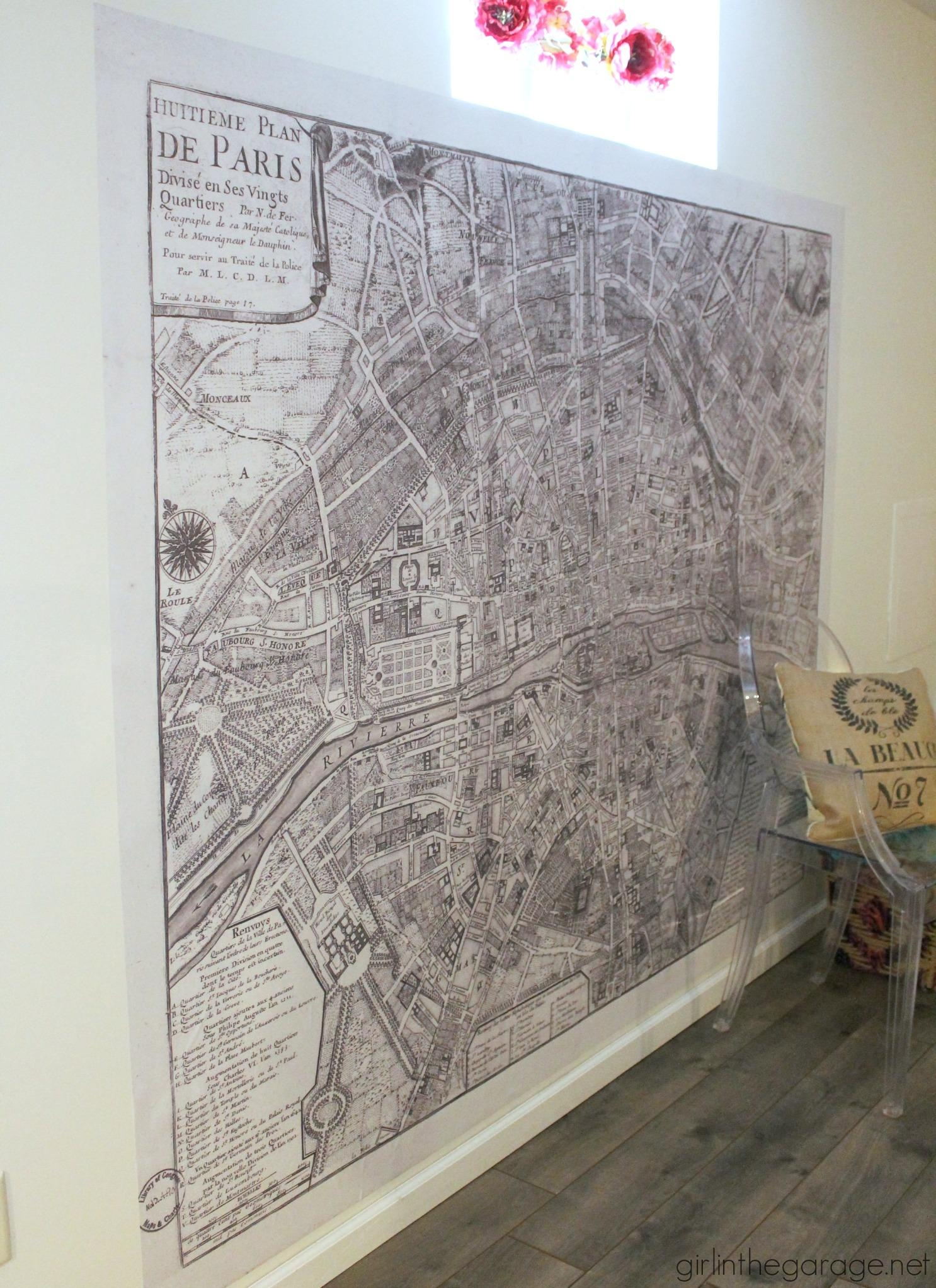 Giant Paris Wall Map – How To Make A Statement Wall With Removable Within Map Of Paris Wall Art (Image 7 of 20)