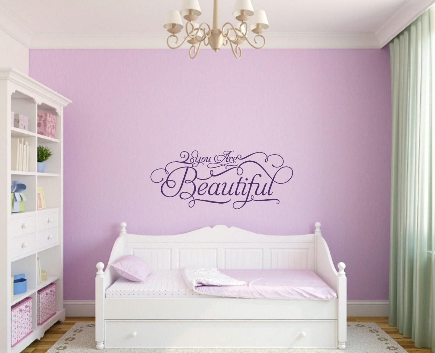 Girls Bedroom Wall Decor Butterfly Girl Wall Art Sticker Vinyl Intended For Wall Art For Teenage Girl Bedrooms (Image 13 of 20)