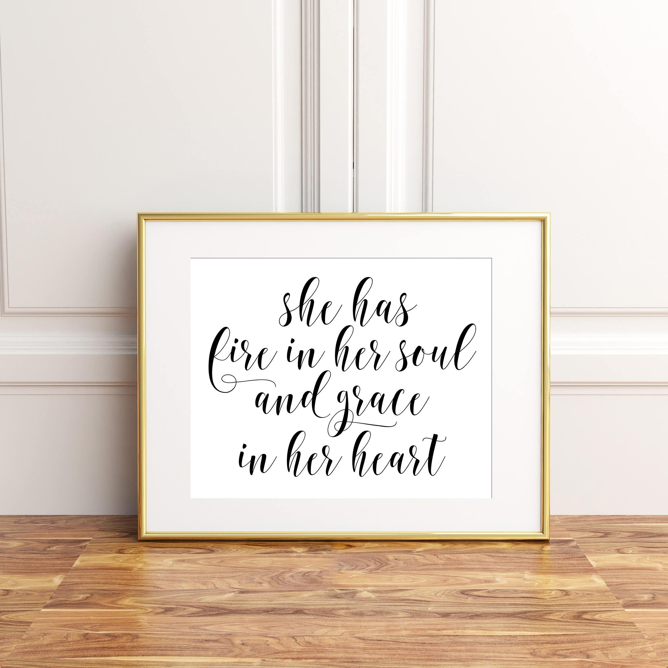 Girls Room Wall Decor She Has Fire In Her Soul And Grace In For Feminine Wall Art (View 12 of 20)