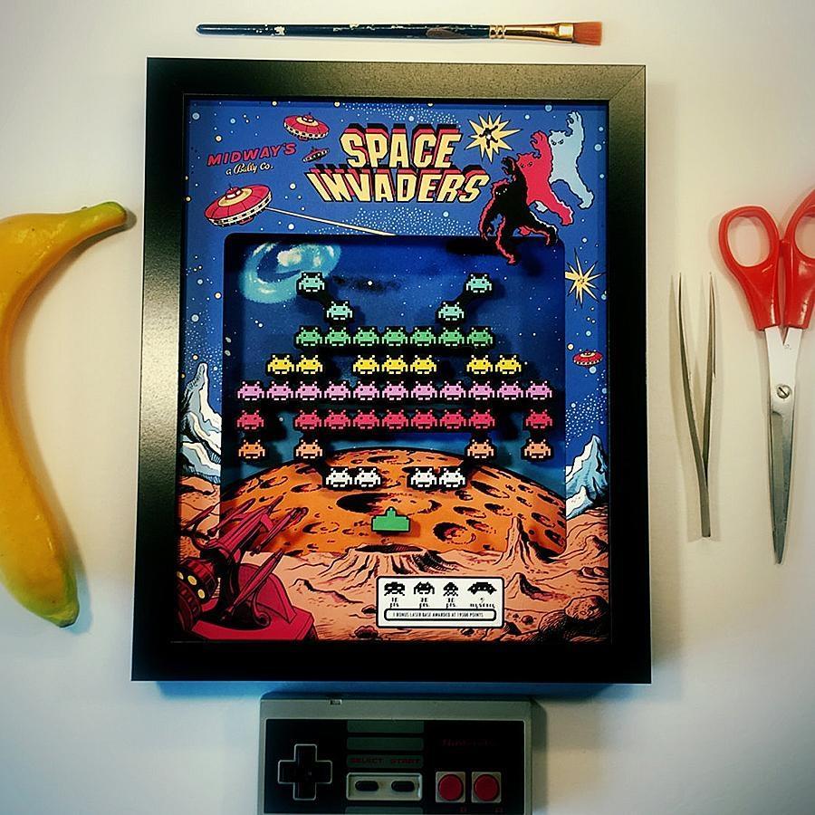 Glitch Artwork Space Invaders Arcade 3D Shadow Box – Noveltystreet Regarding Arcade Wall Art (View 8 of 20)