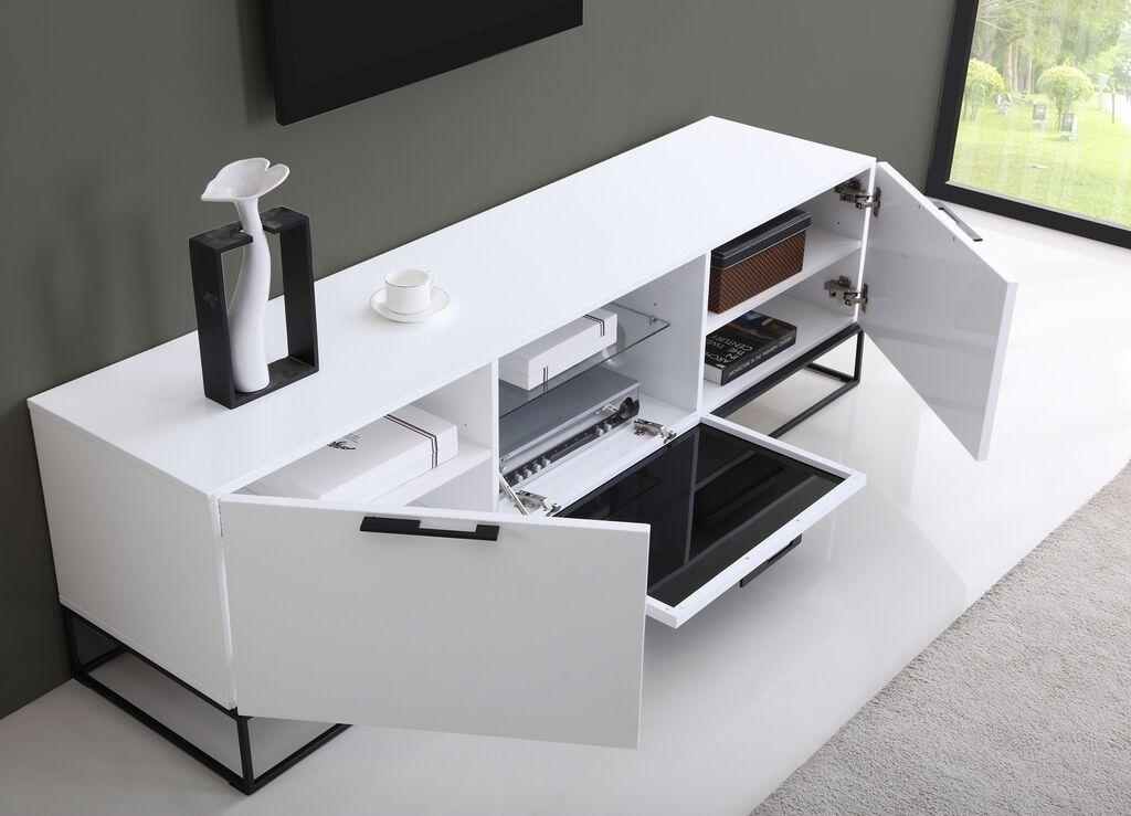 Glossy White Tv Stand Nelly Modern White Glossy Tv Stand (View 6 of 20)