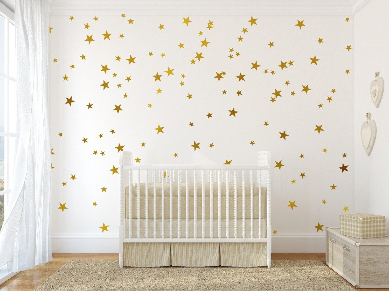 Gold Vinyl Wall Decal Sticker Wall Art Stars Gold Star Decal Inside Gold Wall Art Stickers (Image 12 of 20)