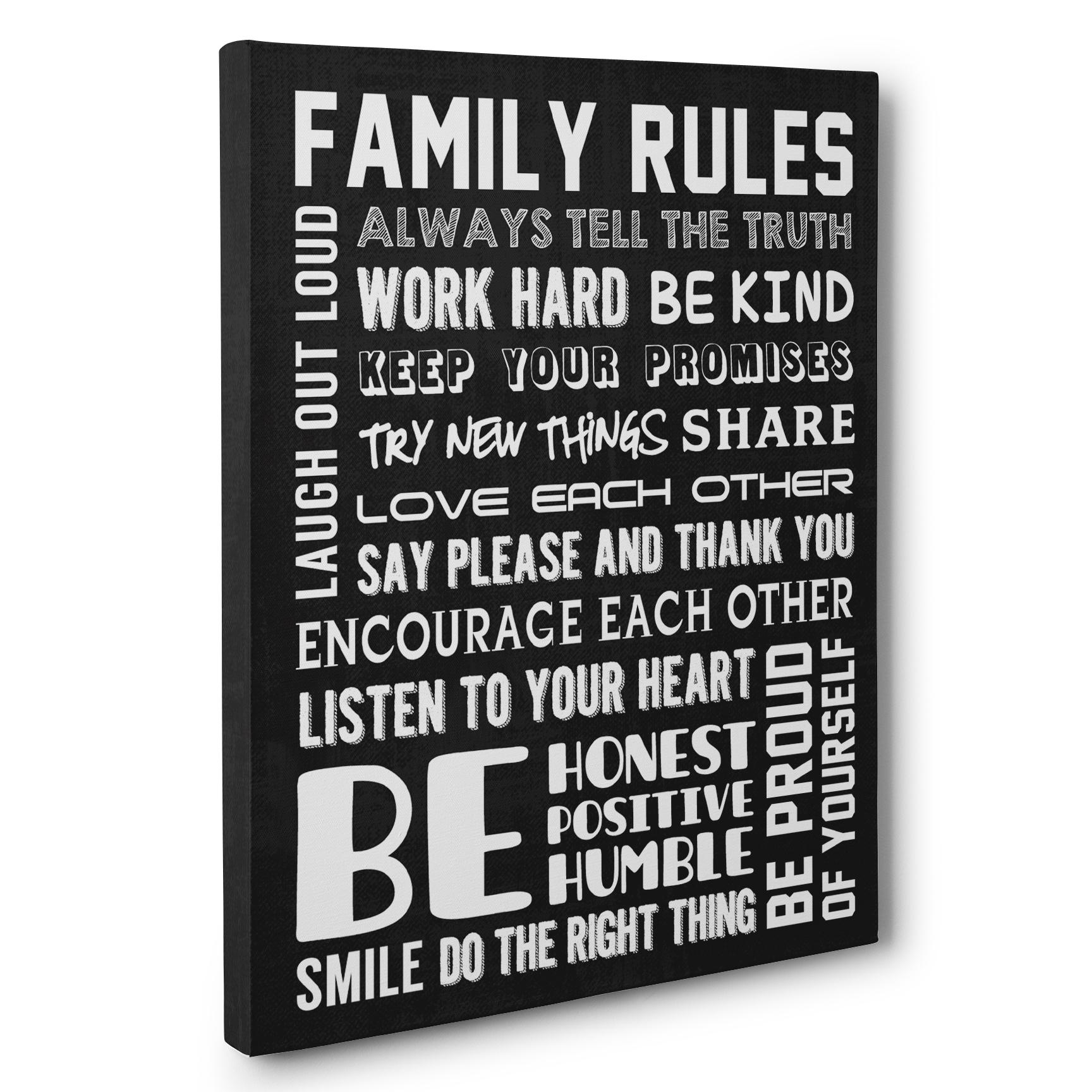 Good Family Rules Home Décor Canvas Wall Art – Paper Blast Throughout Family Rules Canvas Wall Art (Image 13 of 20)