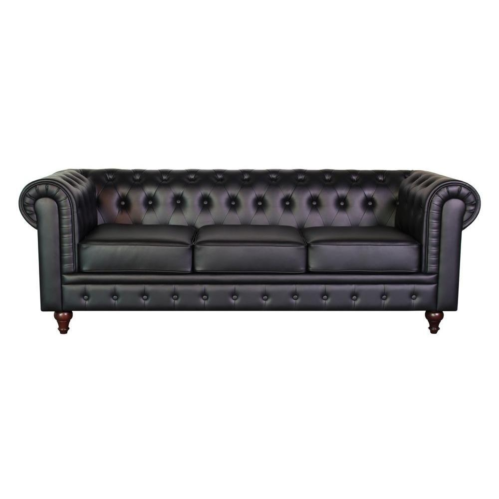 Grace Chesterfield Bonded Leather Button Tufted Sofa, Black S5068 For Chesterfield Black Sofas (View 20 of 20)