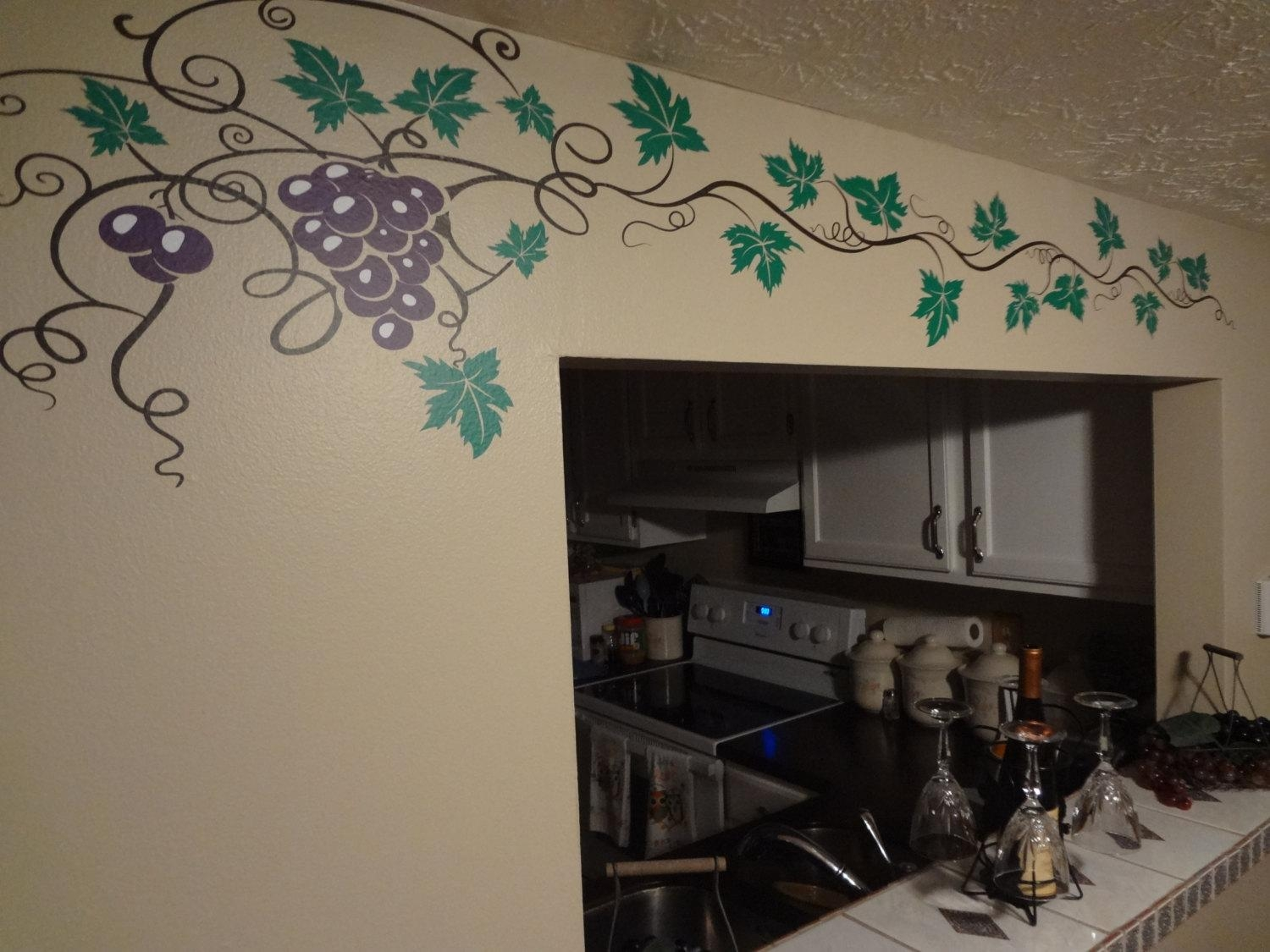 Grape Vine Decal Wine Home Decor Wall Art Sticker Kitchen Pertaining To Grape Vineyard Wall Art (View 8 of 20)