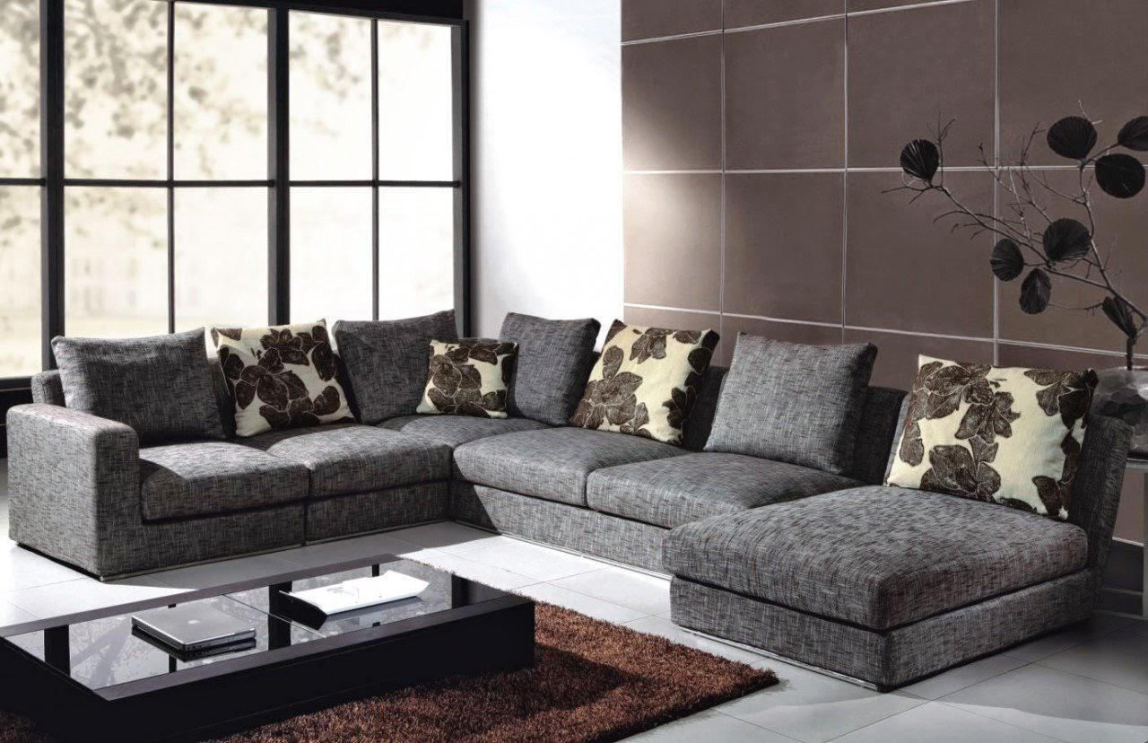 Gray Canvas Deep Oversized Sectional Sofa With Chaise Lounge And Pertaining To Deep Cushioned Sofas (Image 14 of 22)