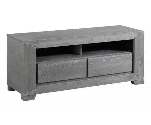 Gray French Oak Tv Stand / Unit With 2 Drawers And Shelves Throughout Best And Newest Grey Wood Tv Stands (Image 16 of 20)