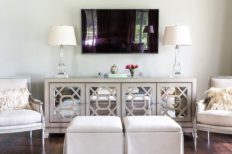 Gray Mirrored Tv Cabinet With Crystal Lamps – Transitional For 2017 Mirrored Tv Stands (View 13 of 20)