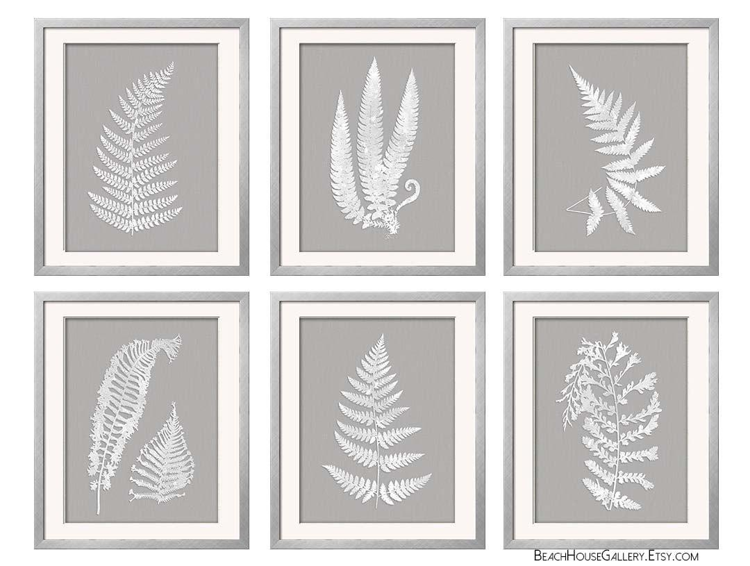 Gray White Wall Art Fern Botanical Prints Grey Wall Art Pertaining To Gray And White Wall Art (Image 9 of 20)