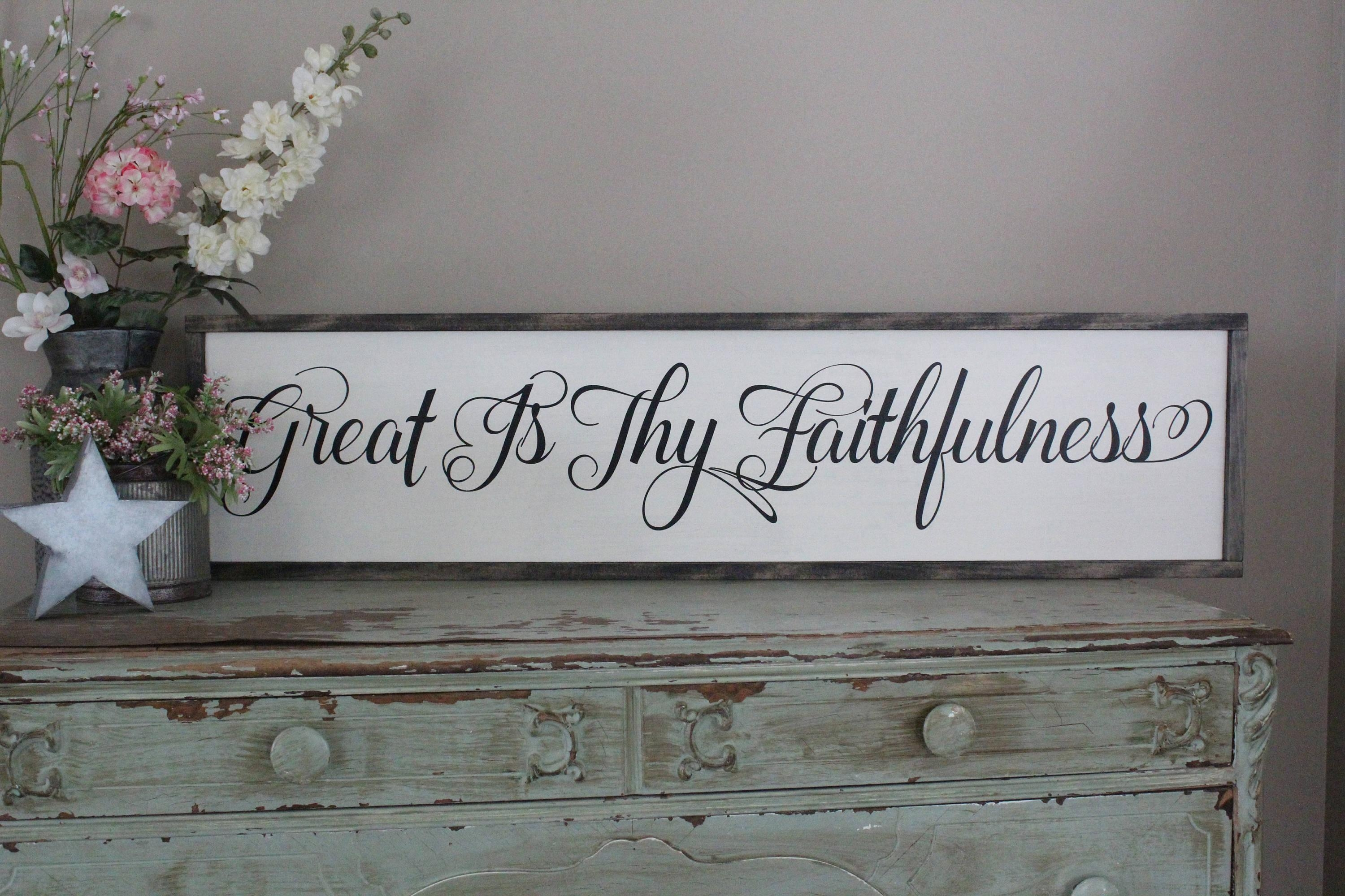 Great Is Thy Faithfulness Framed Wood Sign Dining Room Wall Intended For Christian Framed Wall Art (View 18 of 20)
