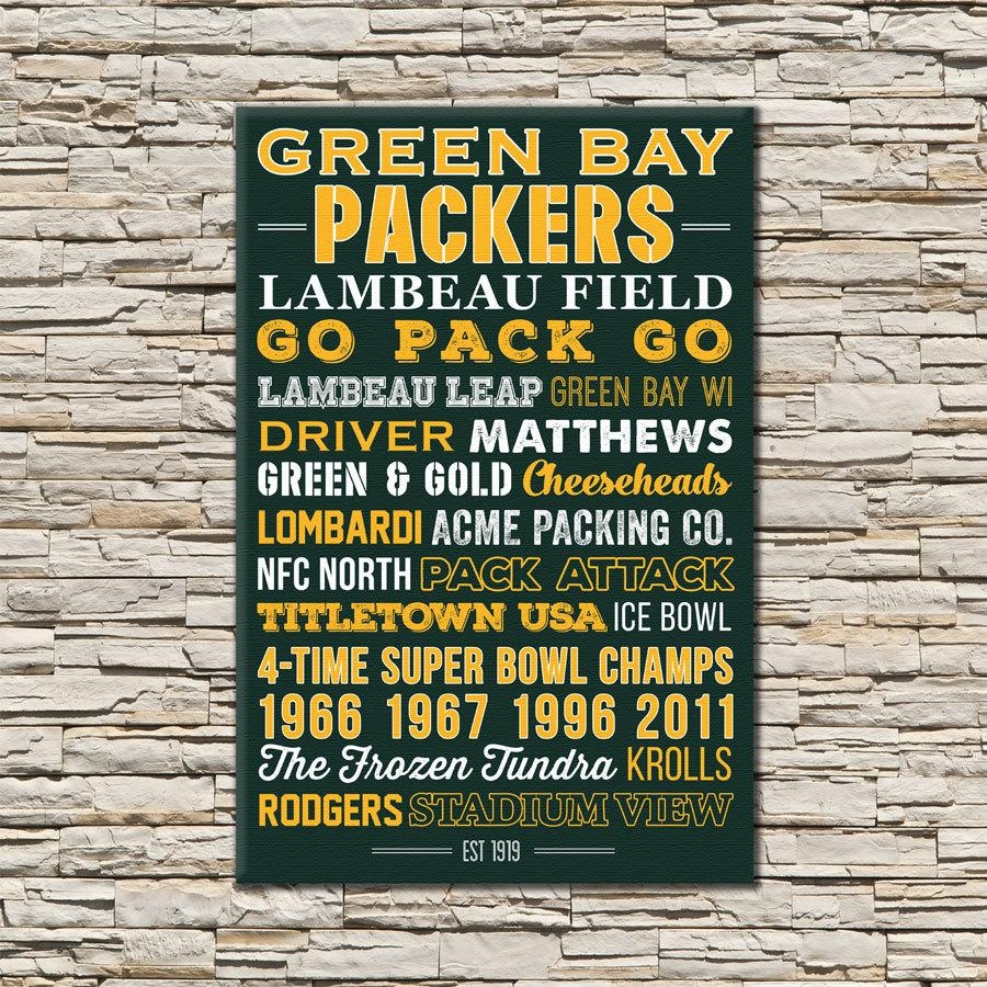 Green Bay Packers Art Canvas Or Poster Throughout Green Bay Packers Wall Art (Image 3 of 20)