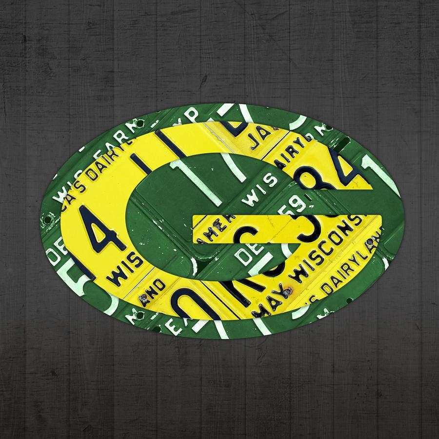 Green Bay Packers Football Team Retro Logo Wisconsin License Plate For Green Bay Packers Wall Art (Image 6 of 20)