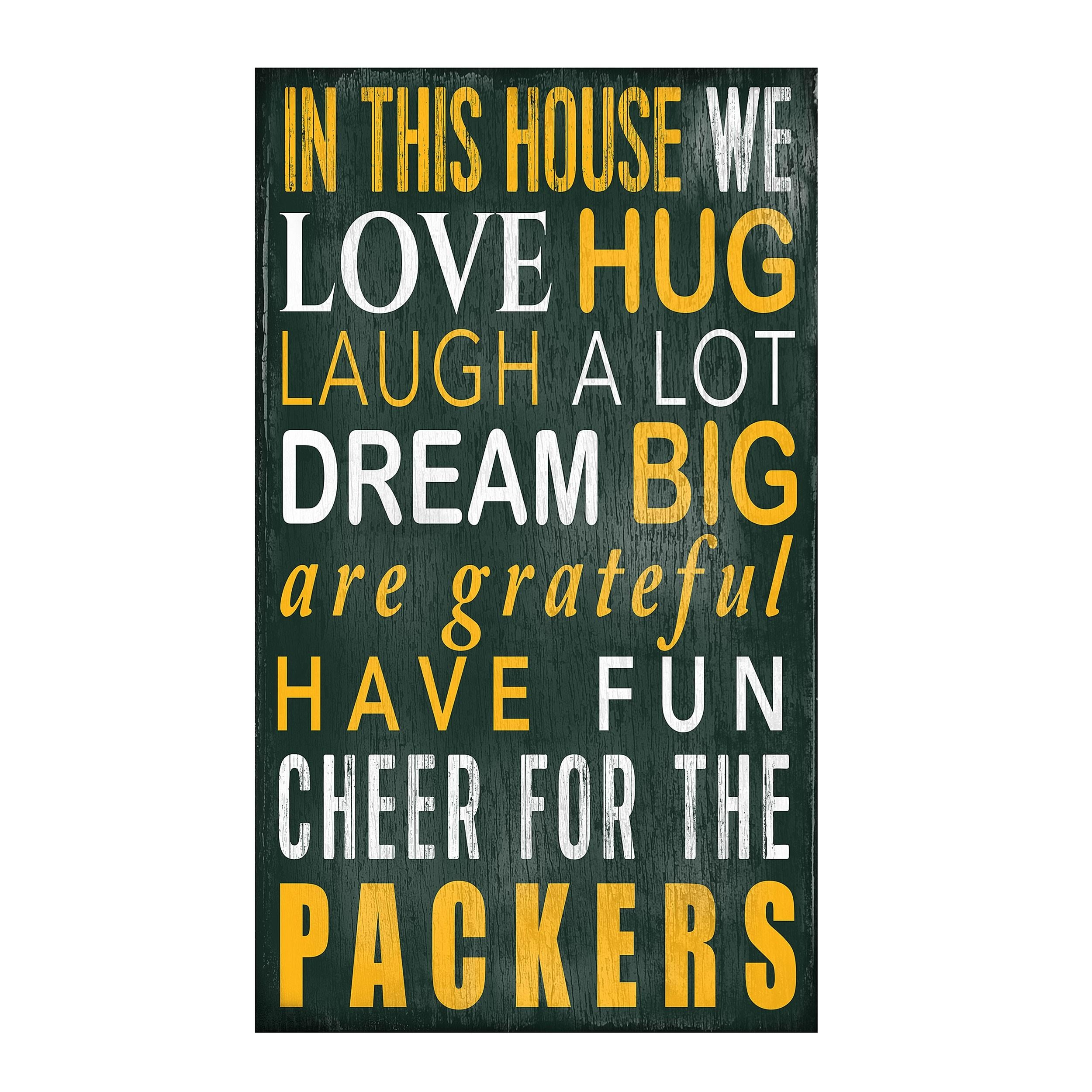 Green Bay Packers In This House Wood Sign – Wall Decor – Home & Office Throughout Green Bay Packers Wall Art (Image 7 of 20)