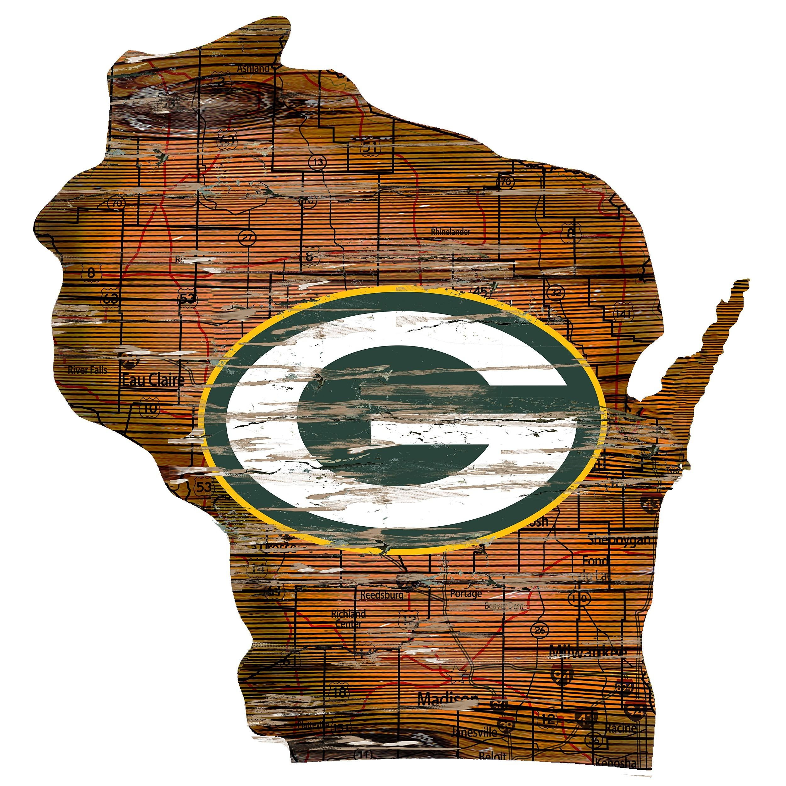 Green Bay Packers State Wood Cut Out Sign At The Packers Pro Shop With Green Bay Packers Wall Art (Image 12 of 20)
