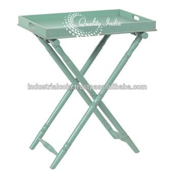 Green Colour Metallic Tv Tray Style Table With Cross Legs – Buy Regarding Most Current Folding Tv Tray (Image 7 of 20)