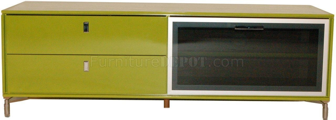 Green High Gloss Finish Modern Tv Stand W/pull Down Glass Door For Best And Newest Green Tv Stands (View 11 of 20)