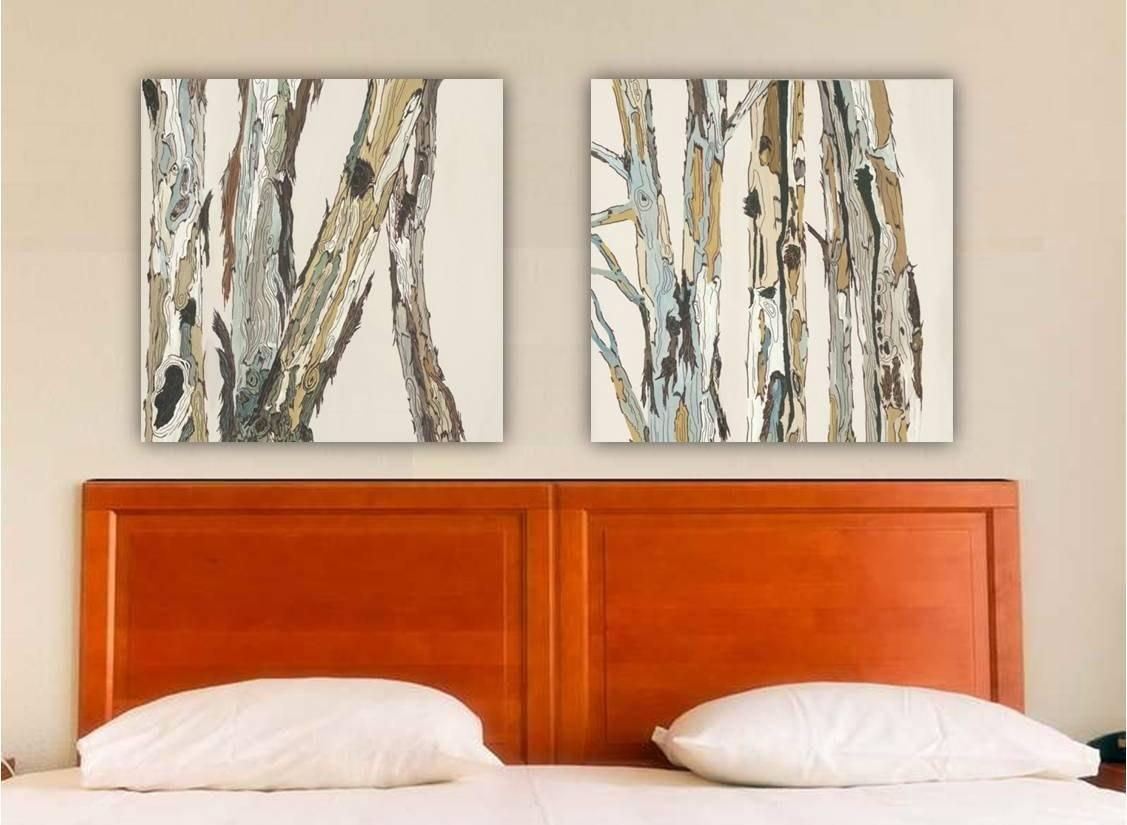 Greige Neutral Extra Large Wall Art Diptych Set Canvas Print Throughout Very Large Wall Art (Image 7 of 20)