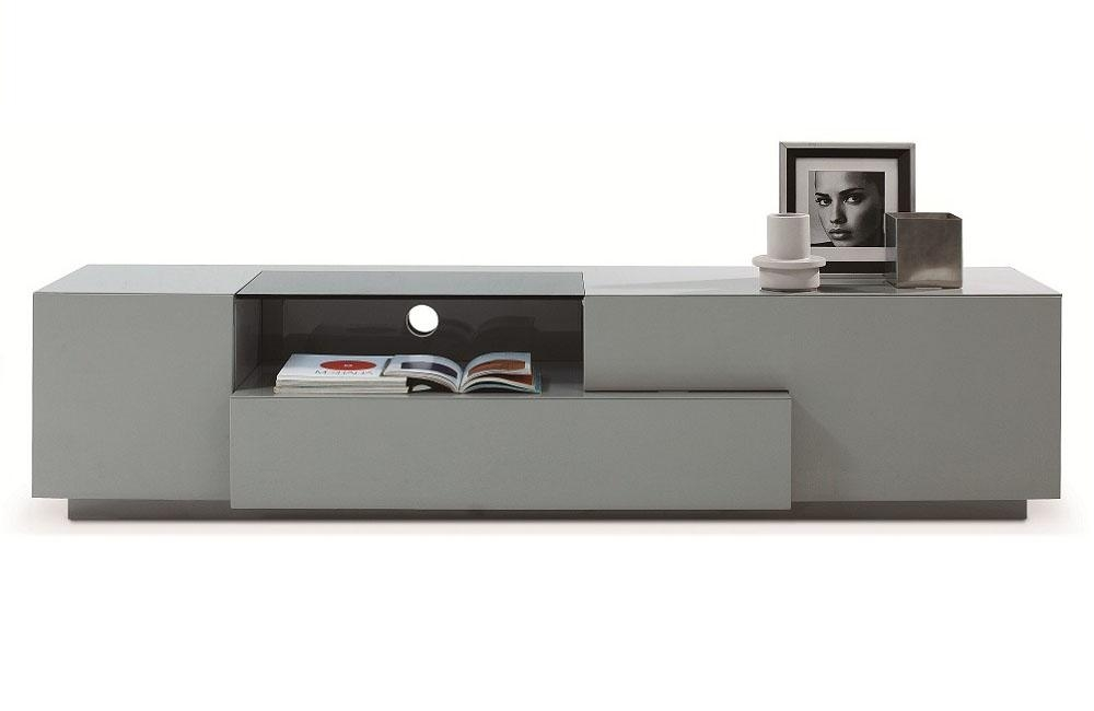 Grey Finish Contemporary Functional Entertainment Tv Stand Chula Within Most Popular Low Profile Contemporary Tv Stands (View 4 of 20)