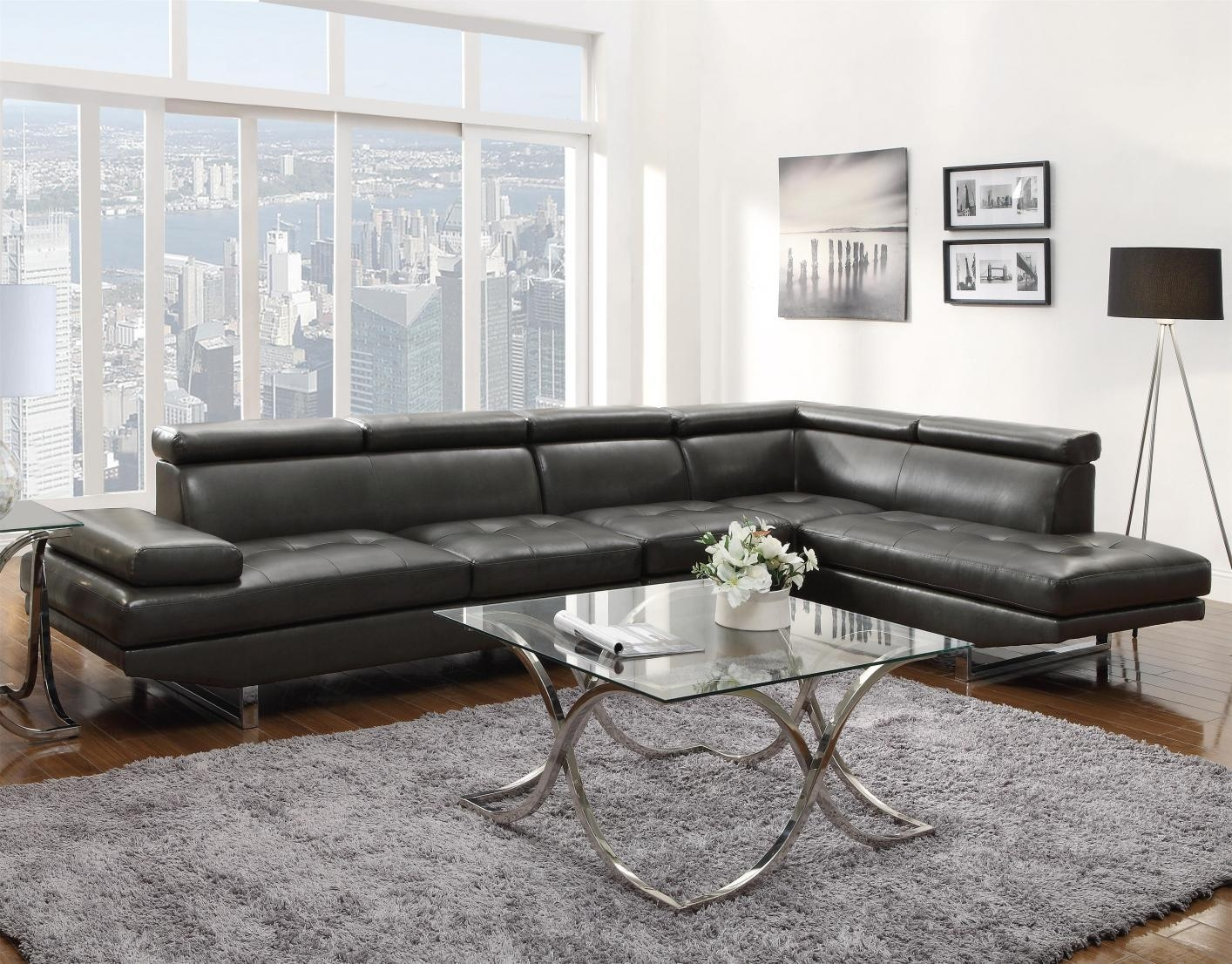 Grey Leather Sectional Sofa – Steal A Sofa Furniture Outlet Los In Gray Leather Sectional Sofas (Image 14 of 21)