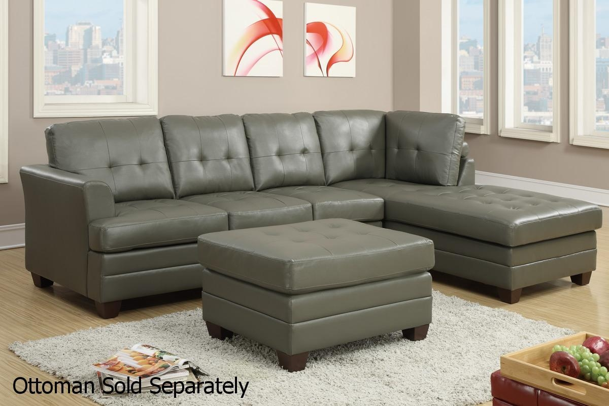 Grey Leather Sectional Sofa – Steal A Sofa Furniture Outlet Los Within Gray Leather Sectional Sofas (View 13 of 21)