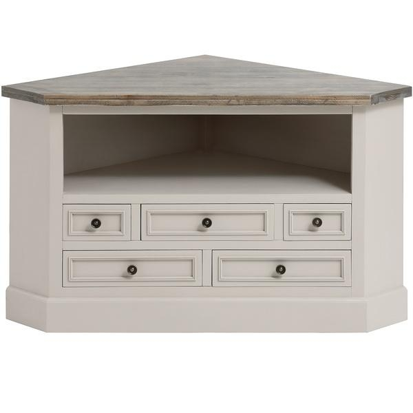 Grey Wooden Corner Tv Unit With Drawer Storage – Cotswold Range Inside Most Recently Released Large Corner Tv Cabinets (Image 11 of 20)