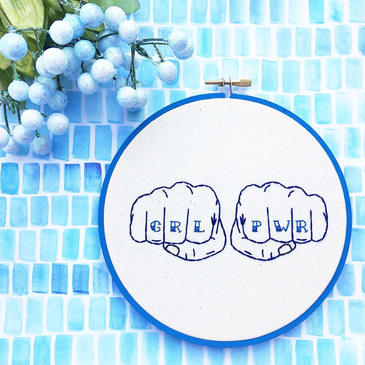 Grl Pwr Blue Hand Embroidery Feminist Wall Art Embroidery For Feminist Wall Art (View 12 of 20)