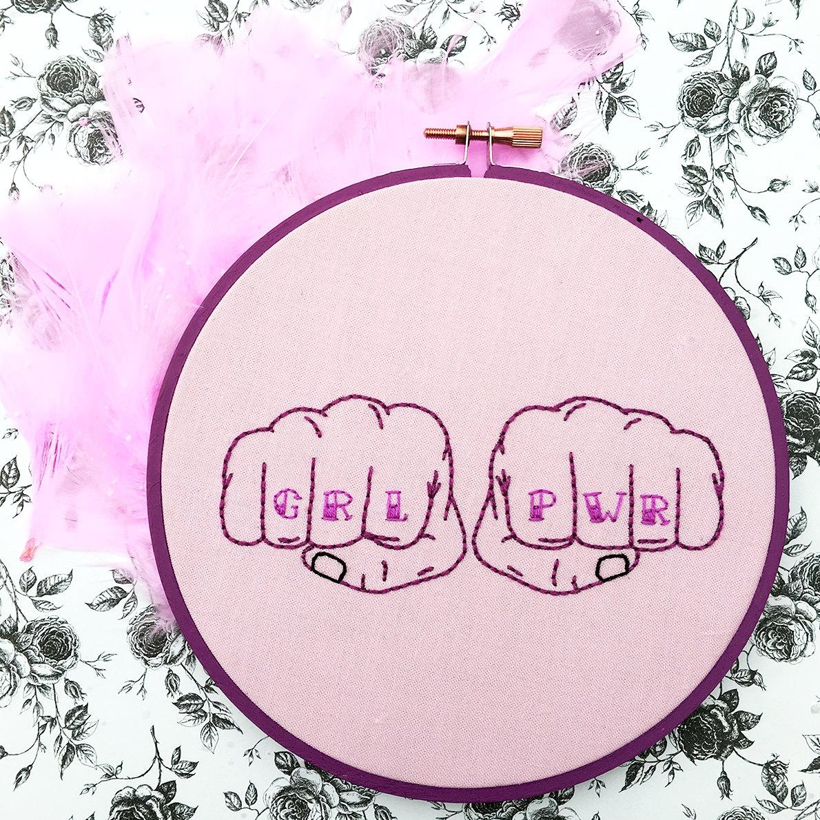 Grl Pwr Pink Hand Embroidery Feminist Wall Art Feminist Throughout Feminist Wall Art (View 15 of 20)
