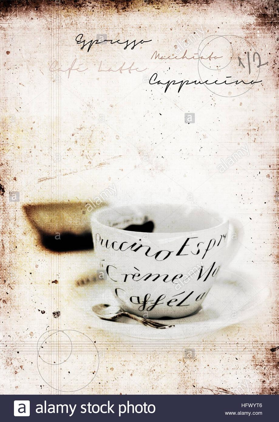 Grunge Graffiti Effect Image Of Classic Italian Coffee Cup And With Italian Coffee Wall Art (View 4 of 20)