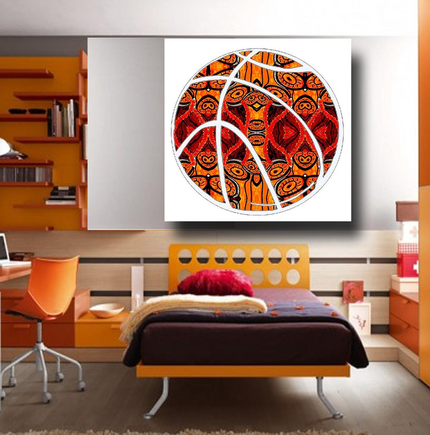 Guy Sports Art Masculine Wall Art Painting Basketball Gift In Masculine Wall Art (View 3 of 20)