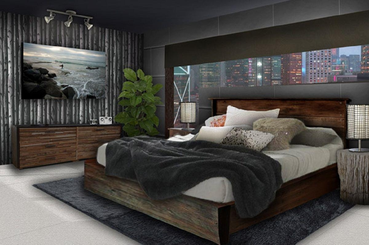 Guys Bedroom Color Ideas Beige Painted Wooden Bed Frame Cool Wall Inside Wall Art For Guys (View 16 of 20)