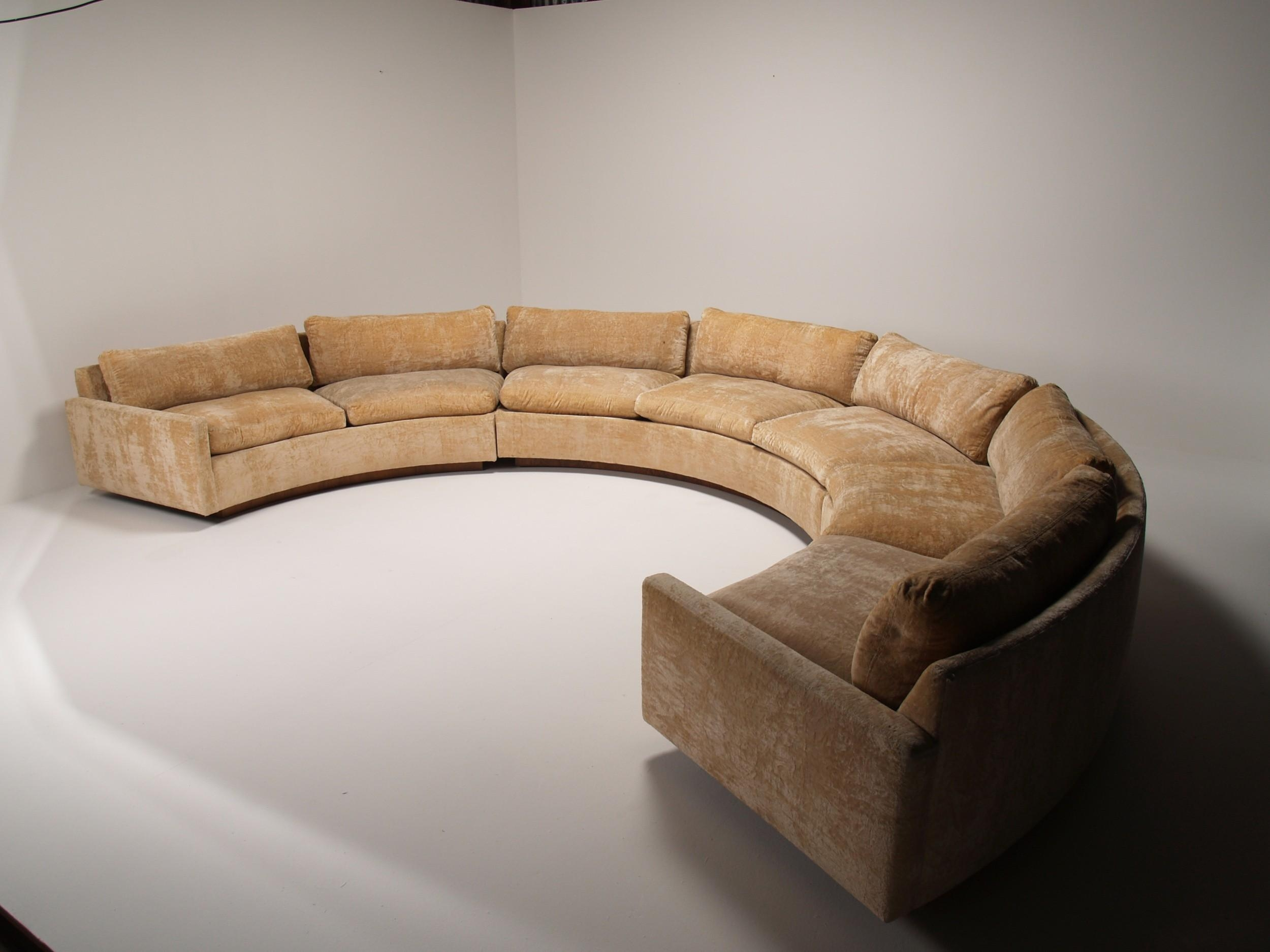 Half Round Light Brown Velvet Sofa With Cushions And Arm Rest Within Oval Sofas (View 7 of 21)