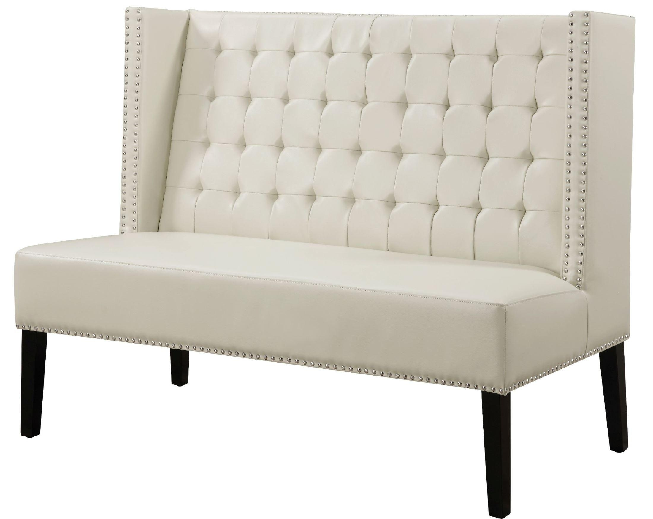 Halifax Cream Leather Banquette Bench From Tov (63115 Cream With Regard To Leather Bench Sofas (View 20 of 22)