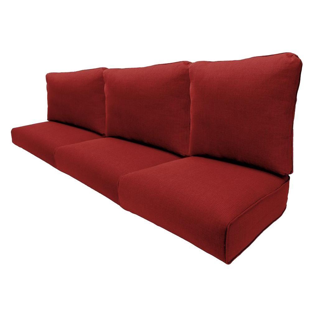 Hampton Bay Woodbury Chili Replacement Outdoor Sofa Cushion Inside Sofa Cushions (View 16 of 21)