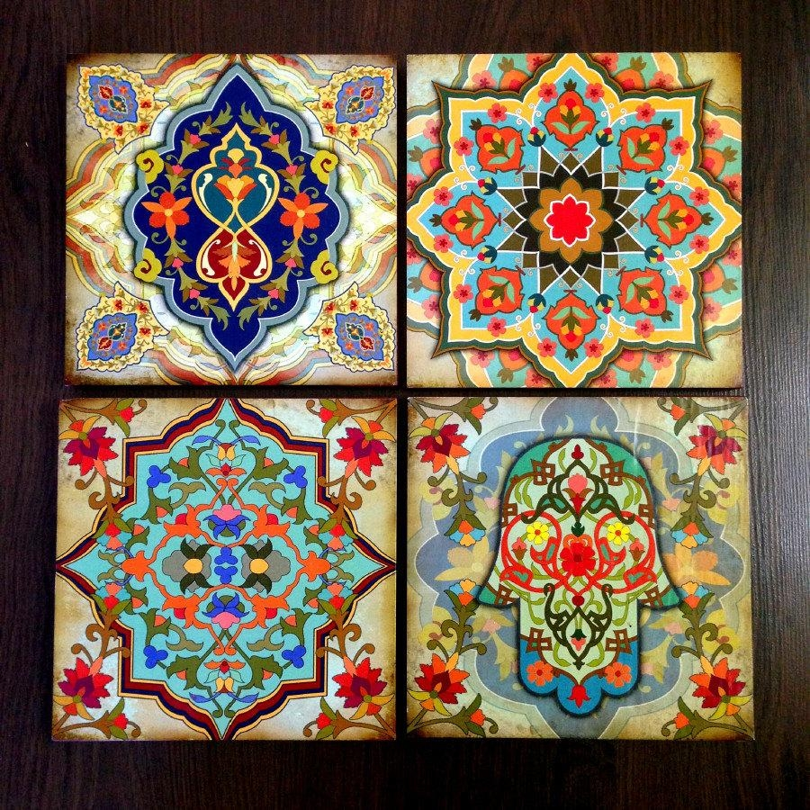 Hamsa Art Moroccan Wall Art Set Blocks 8X8 Set Of 4 Moroccan Intended For Glass Wall Art For Sale (Image 4 of 20)