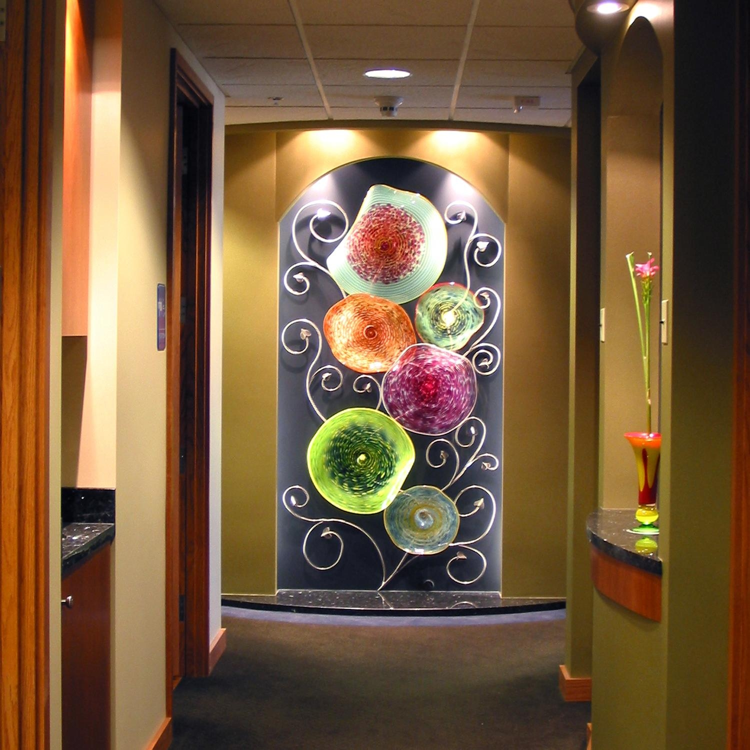 Hand Blown Glass Wall Art Sculpture | Artisan Crafted Home Inside Glass Wall Art For Sale (Image 5 of 20)