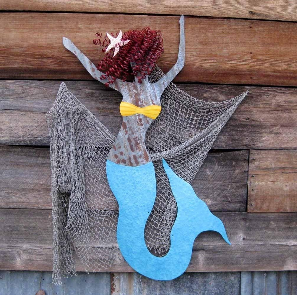 Hand Crafted Handmade Upcycled Extra Large Metal Mermaid Wall Art Throughout Large Metal Wall Art Sculptures (Image 7 of 20)