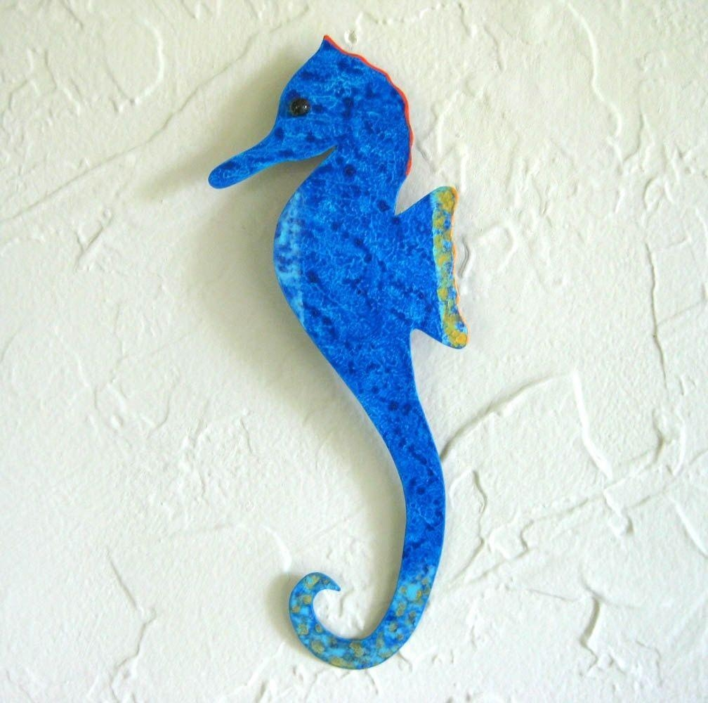 Hand Crafted Handmade Upcycled Metal Blue Seahorse Wall Art With Regard To Sea Horse Wall Art (View 12 of 20)