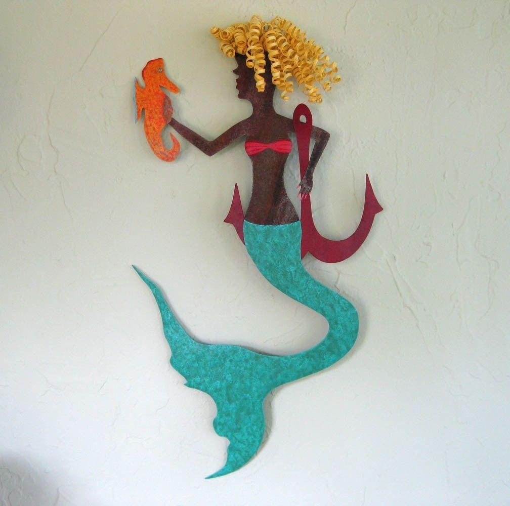 Hand Crafted Handmade Upcycled Metal Mermaid With Seahorse Wall Within Sea Horse Wall Art (Image 5 of 20)