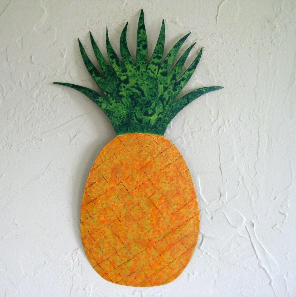 Hand Crafted Handmade Upcycled Metal Pineapple Wall Art Sculpture For Pineapple Metal Wall Art (Image 9 of 20)