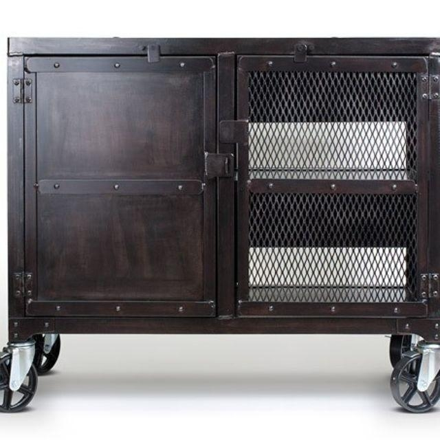 Hand Crafted Small Industrial Media Wine Cabinet, Tv Stand, Liquor Regarding Latest Industrial Metal Tv Stands (Image 6 of 20)