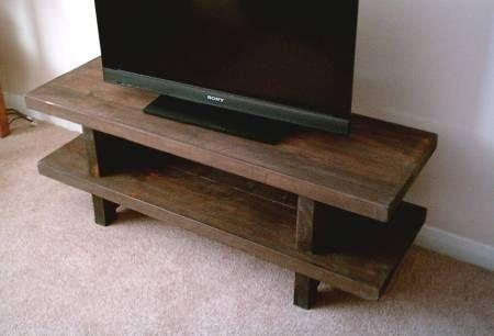 Hand Made Rustic Widescreen Tv Stand – Solid Wood Stained In With Latest Hardwood Tv Stands (View 6 of 20)