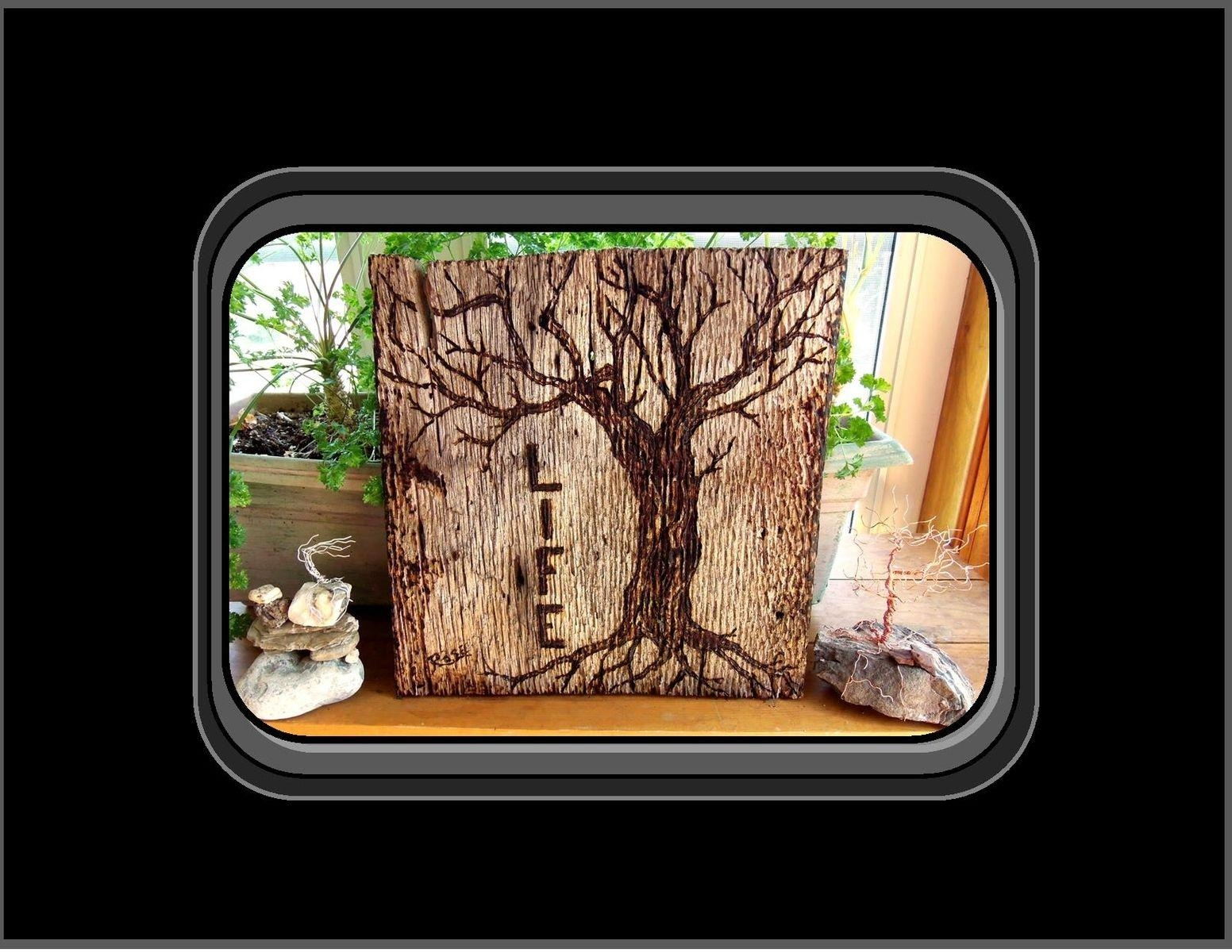 Hand Made Tree Of Life, Tree Of Life Wood Burned Art, Tree Of Life With Tree Of Life Wood Carving Wall Art (Image 7 of 20)