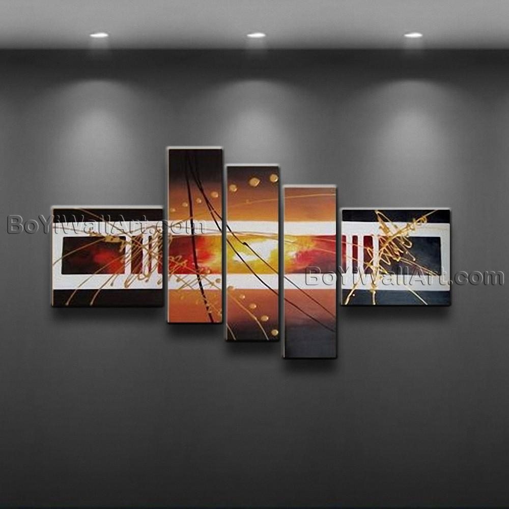 Hand Painted Abstract Painting Canvas Wall Art Framed 5 Pieces Inside Five Piece Wall Art (View 19 of 20)