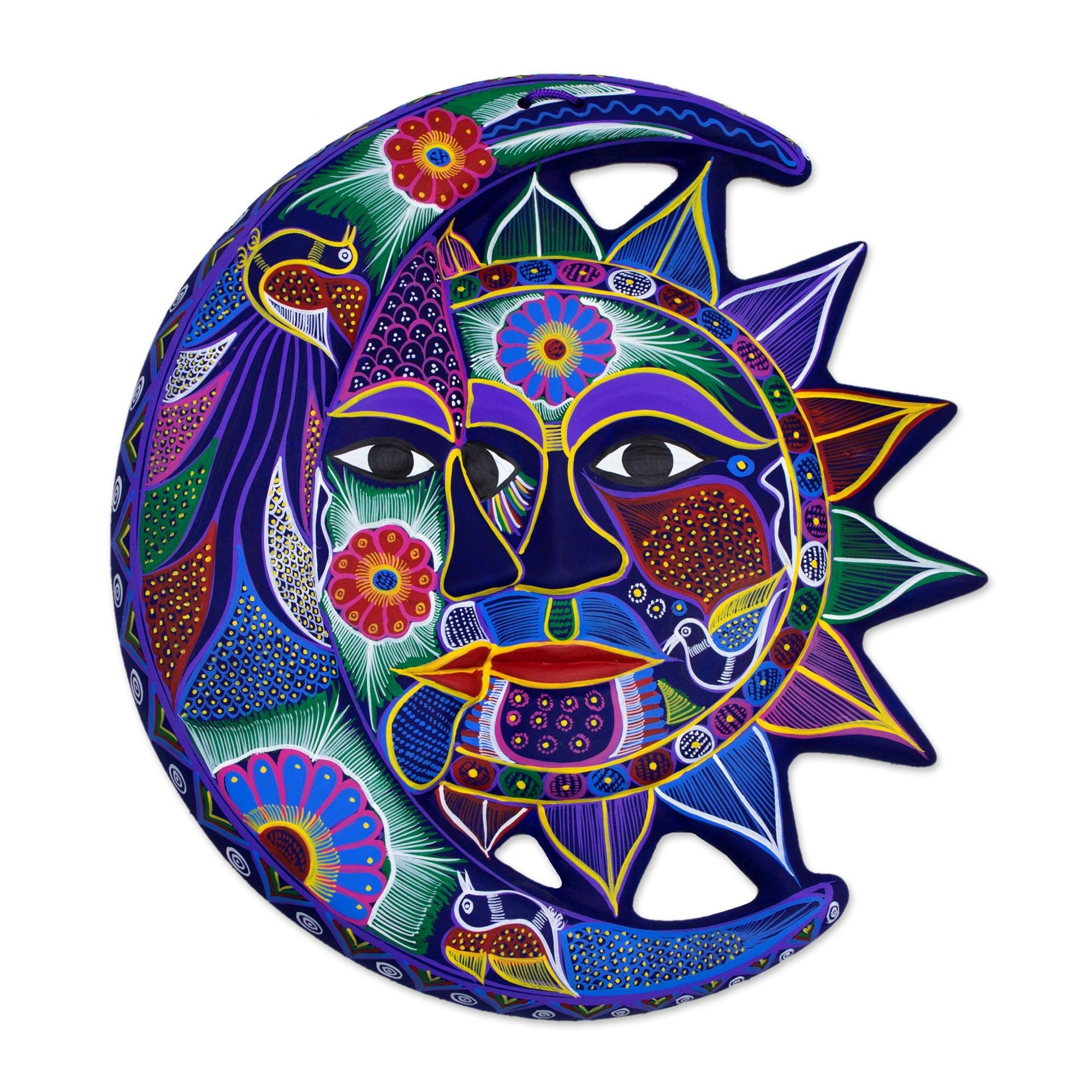 Hand Painted Sun And Moon Ceramic Wall Art – Fantastical Eclipse Pertaining To Mexican Ceramic Wall Art (Image 4 of 20)